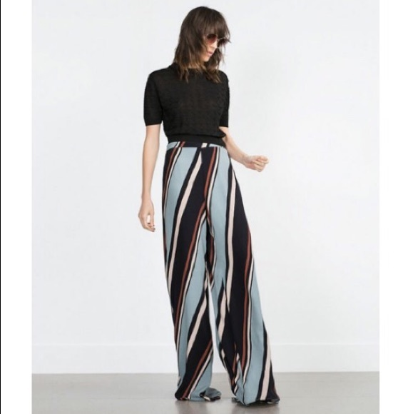 f8ff89f9 Zara Pants | Diagonal Striped Palazzo | Poshmark